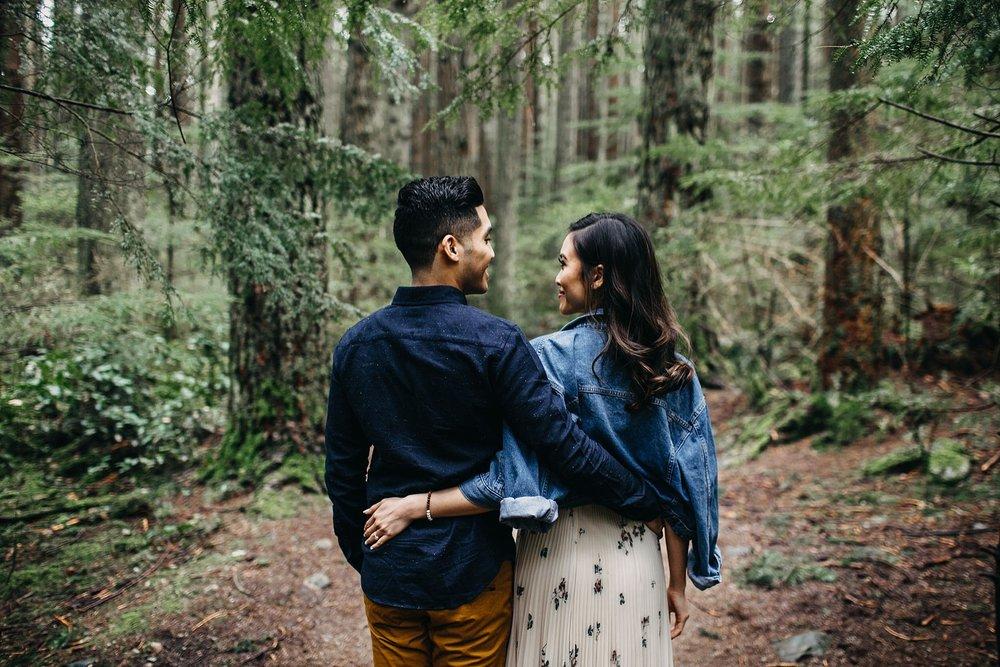 stylish couple engagement vancouver pacific spirit park