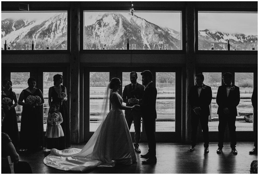 bride and groom ceremony at fraser river lodge wedding