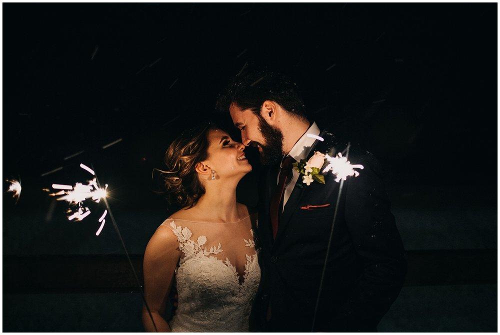bride and groom sparkler exit at fraser river lodge wedding