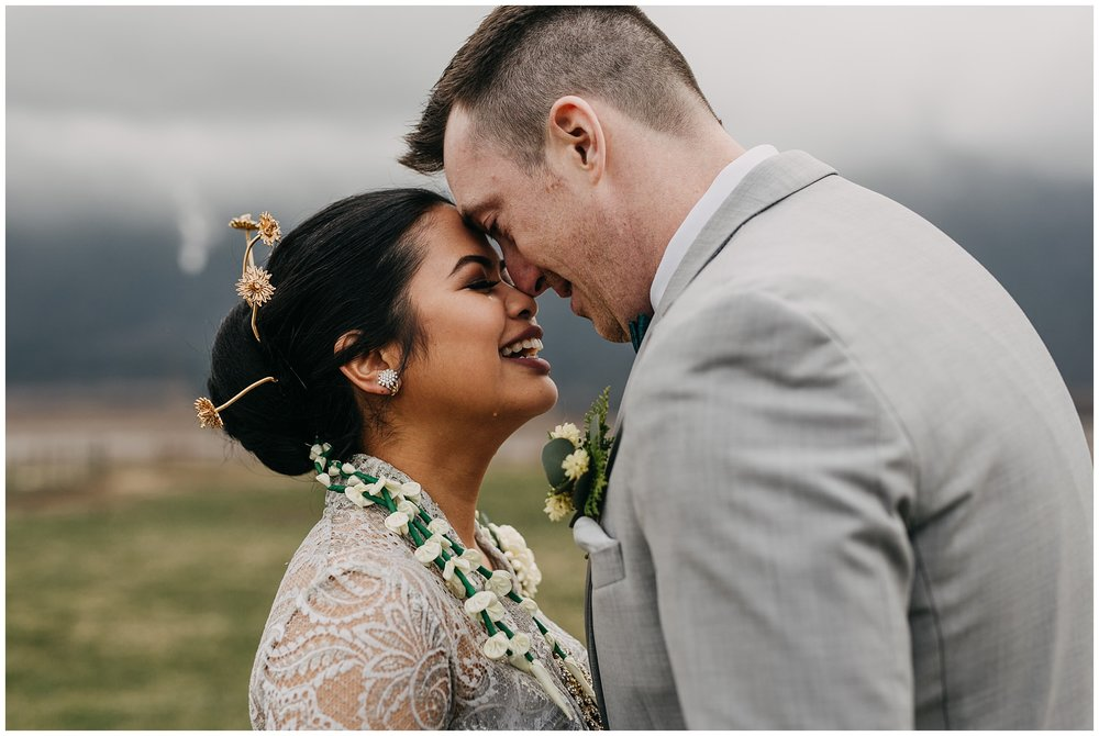 emotional bride and groom first look reaction at fraser river lodge wedding