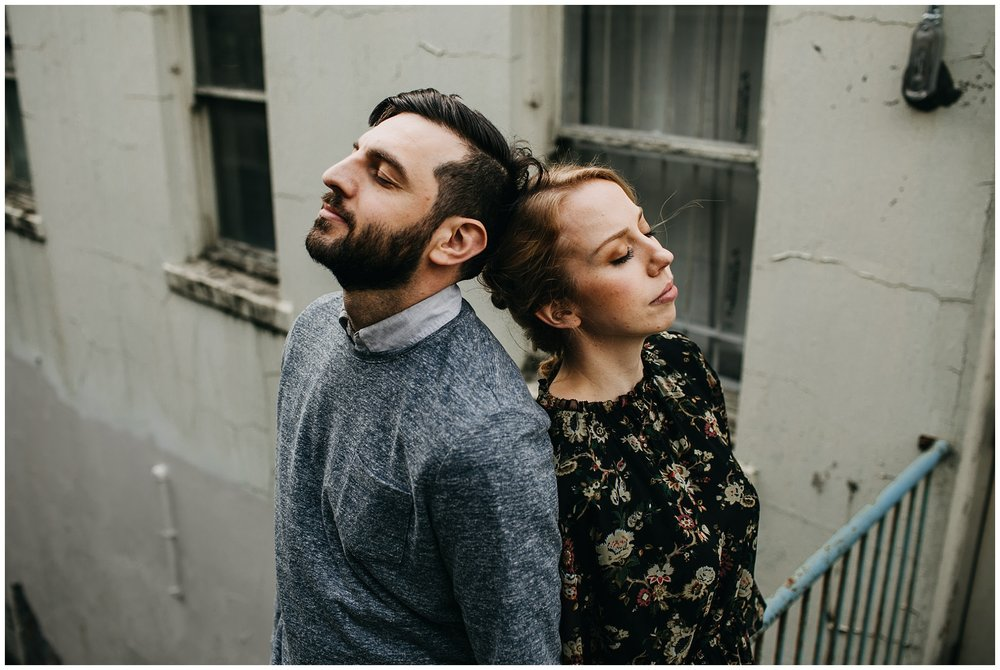 artistic couple photo at downtown new west engagement session