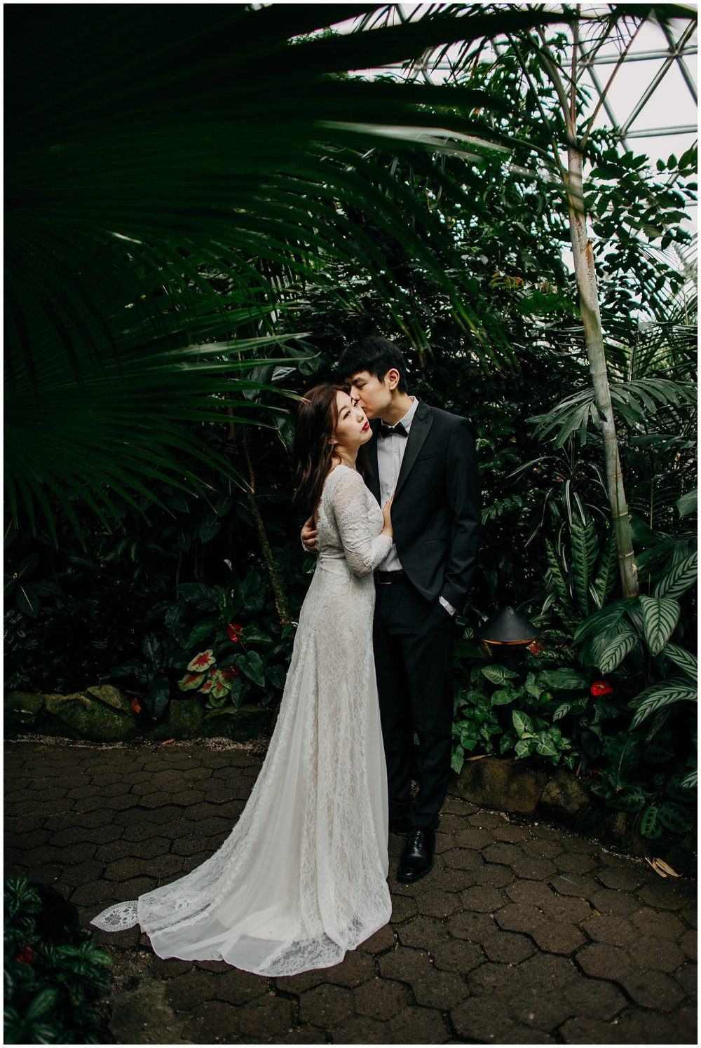 bride and groom portrait at bloedel conservatory vancouver