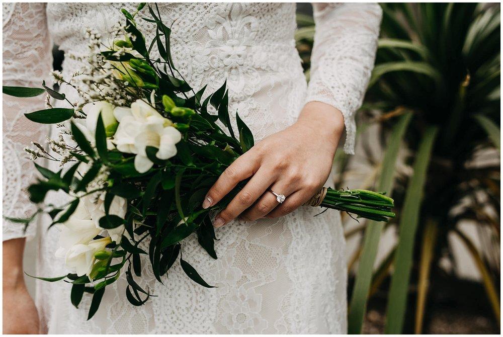 bride portrait and our little flower company bouquet