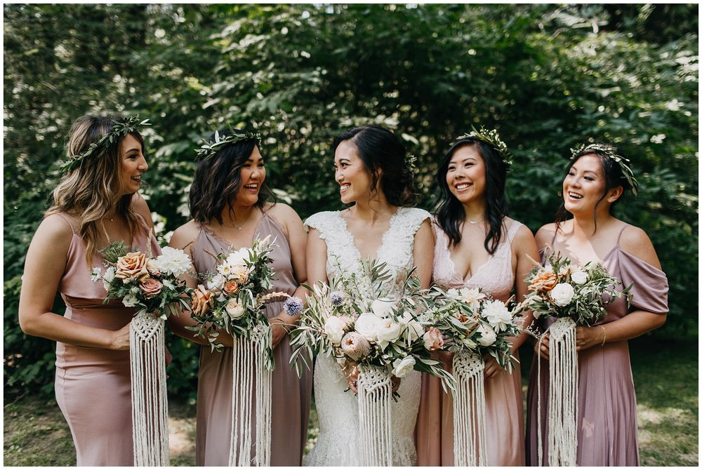 bride and bridesmaids portrait at krause berry farm wedding