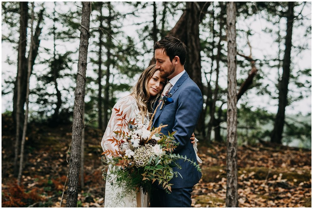 bride and groom portrait at intimate mayne island backyard wedding