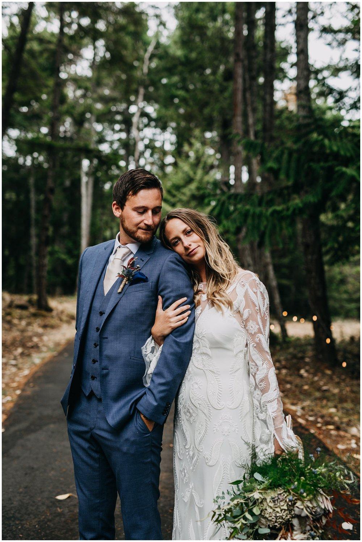 bride and groom editorial portrait at mayne island backyard wedding