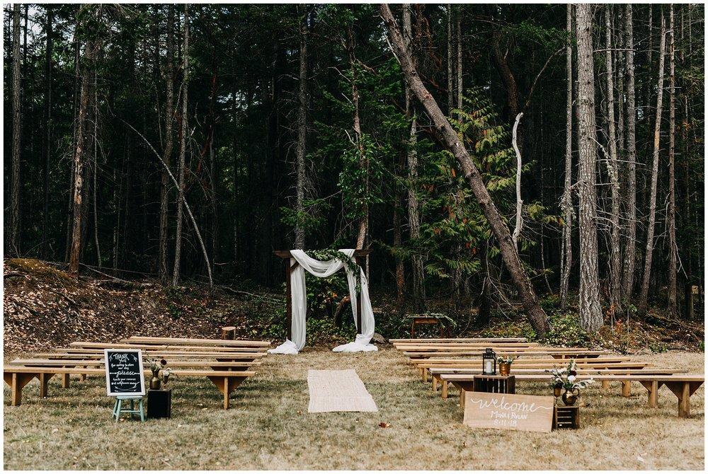 intimate mayne island backyard wedding ceremony set up decor