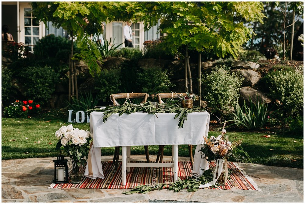 intimate mayne island backyard wedding reception decor