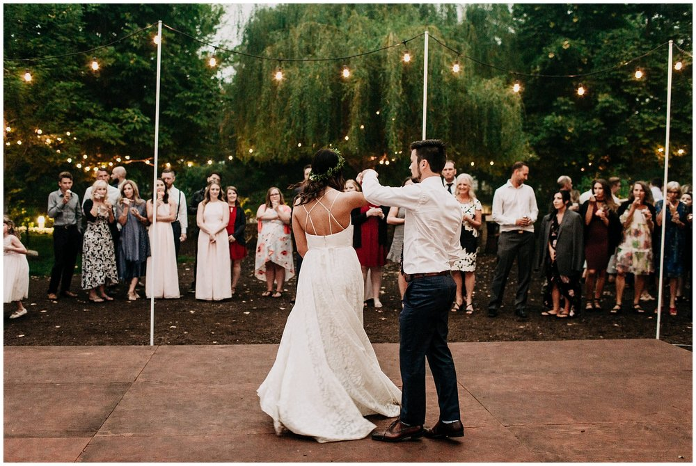 bride and groom first dance at linden gardens wedding
