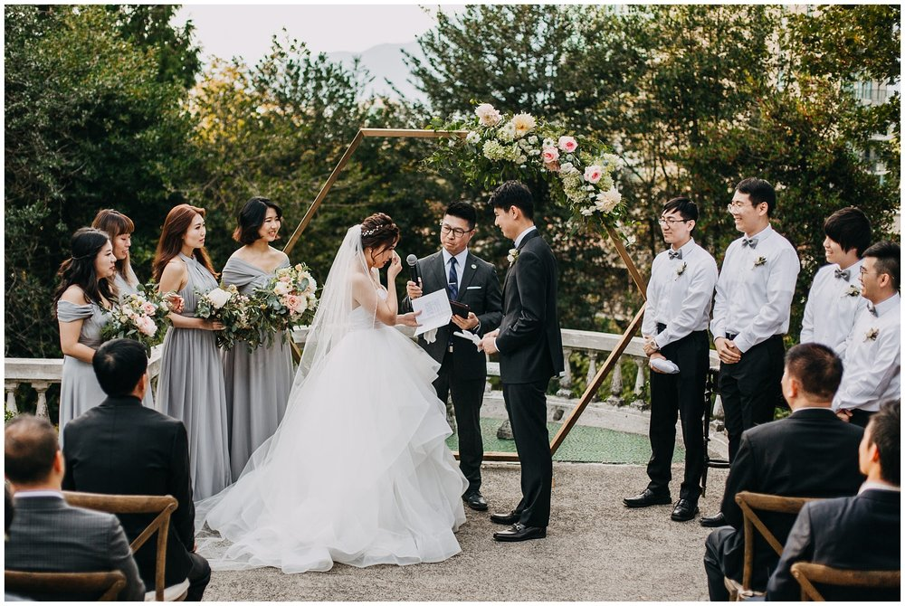 bride and groom emotional moment at hycroft manor wedding