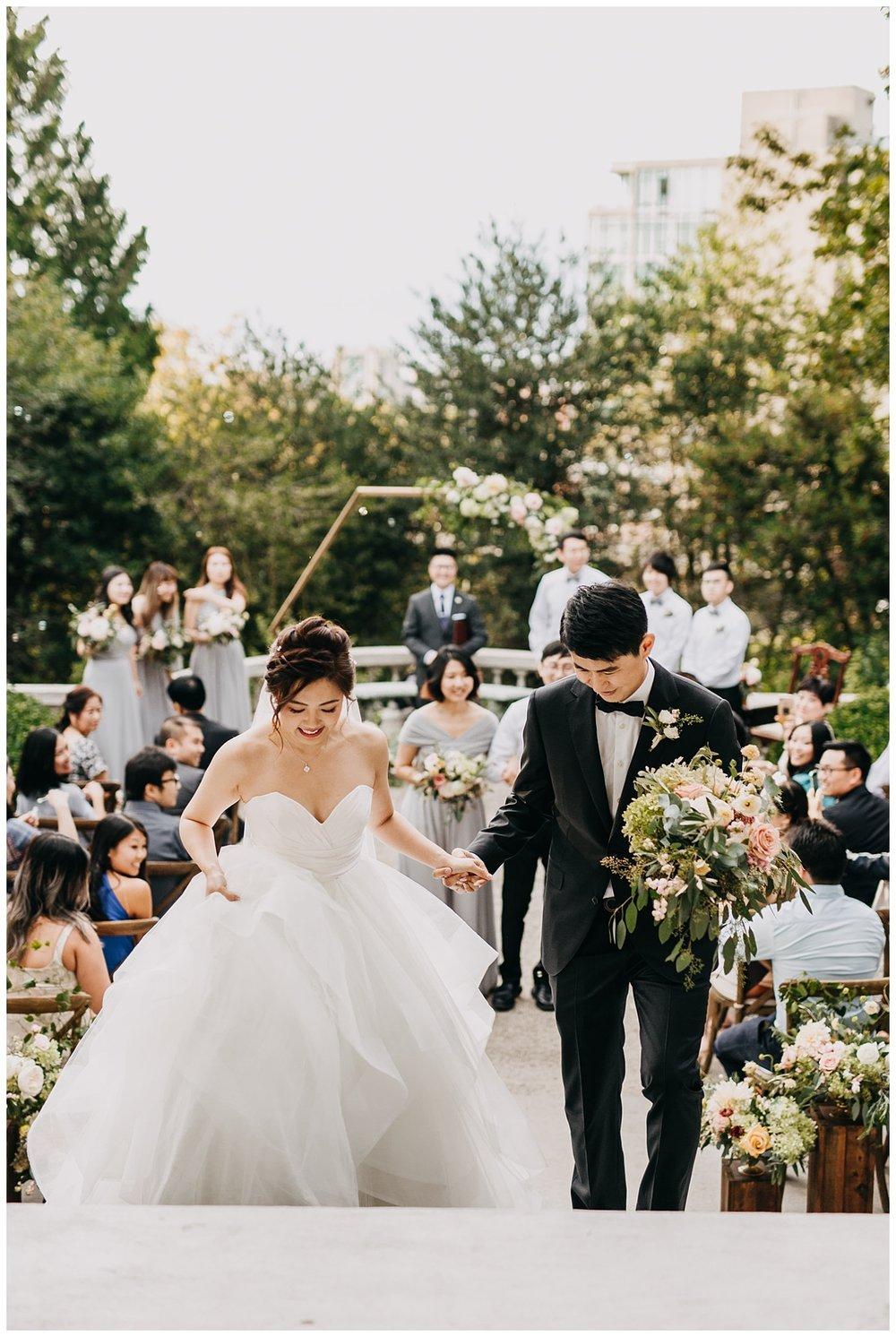 bride and groom ceremony exit at hycroft manor wedding