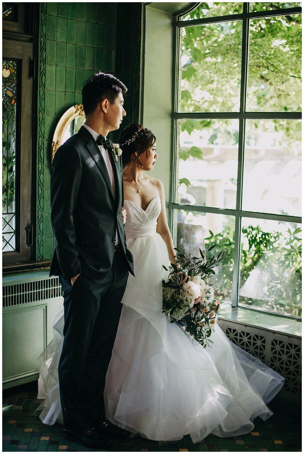 bride and groom moody portrait at hycroft manor wedding