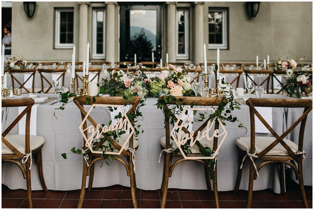 reception long table dinner decor at hycroft manor wedding