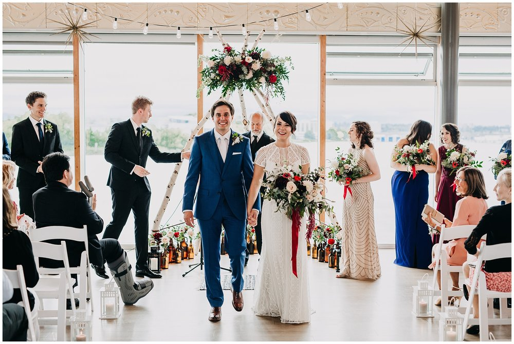 bride and groom ceremony exit at ubc boathouse wedding