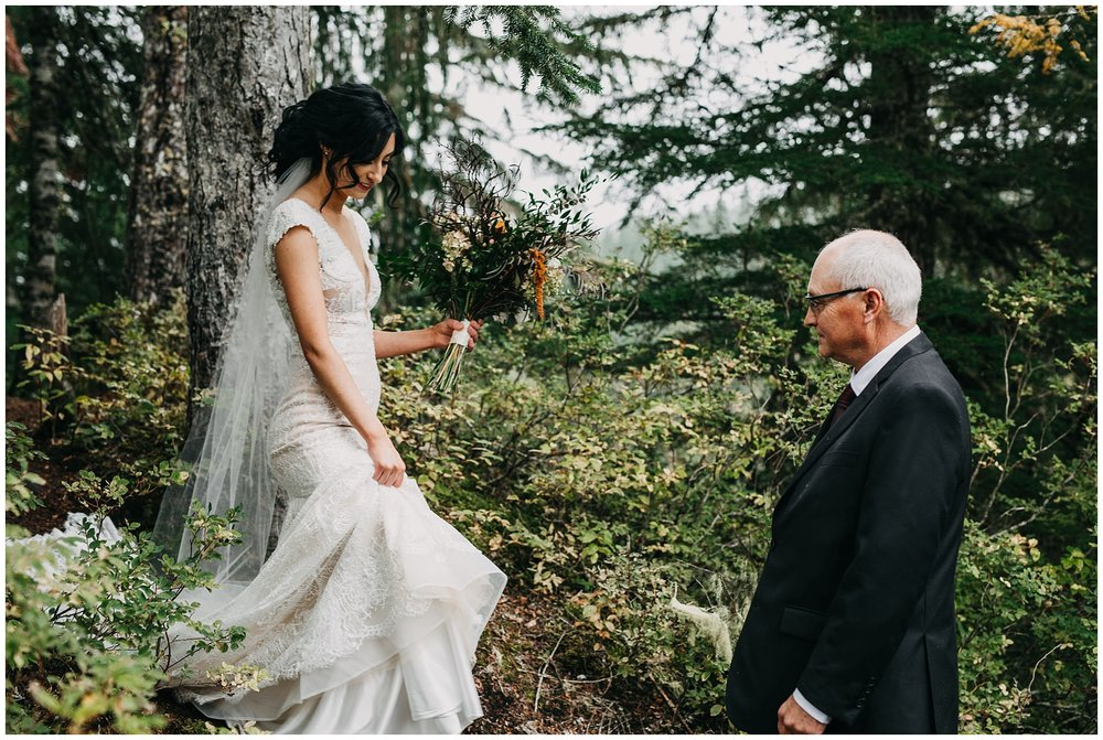 bride and father walking into ceremony at whistler elopement