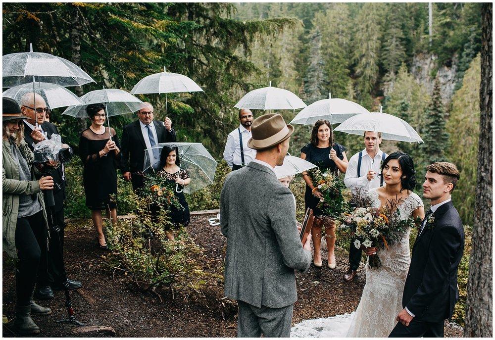 ceremony at alexander falls whistler elopement