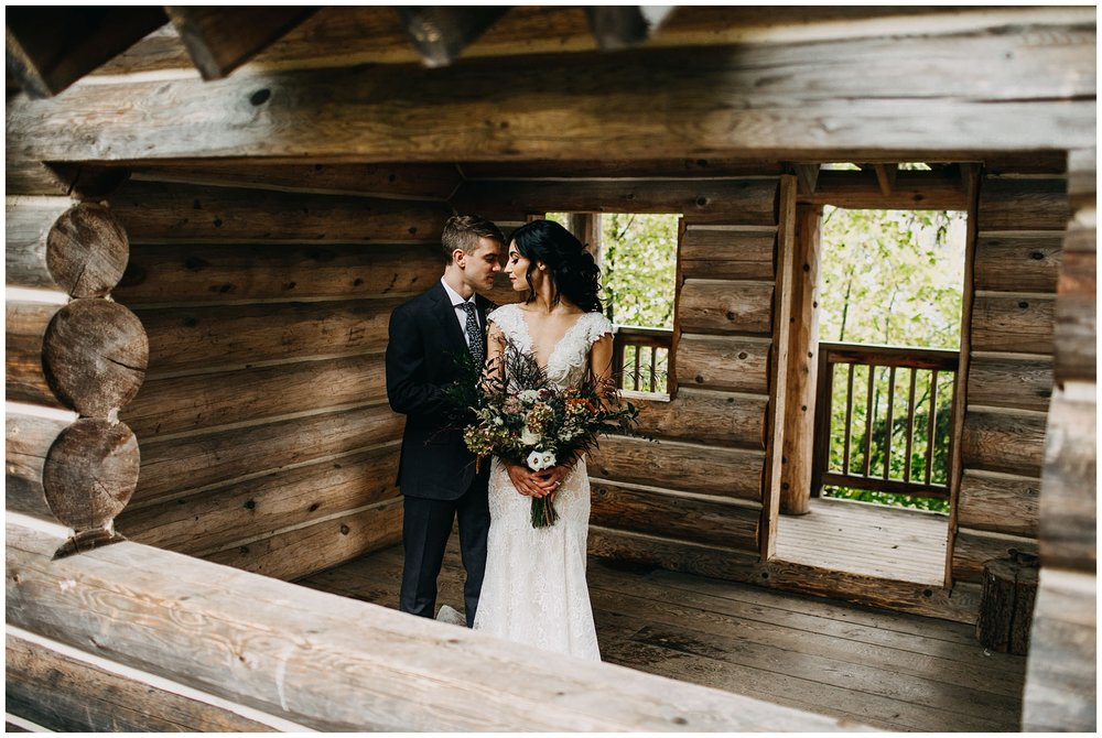 bride and groom portrait in cabin at whistler elopement