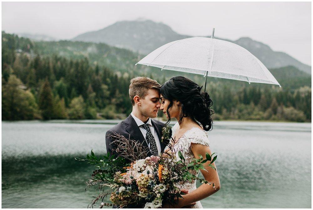 bride and groom rainy portrait at nita lake lodge elopement