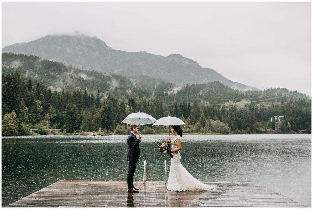 bride and groom portrait at nita lake lodge elopement