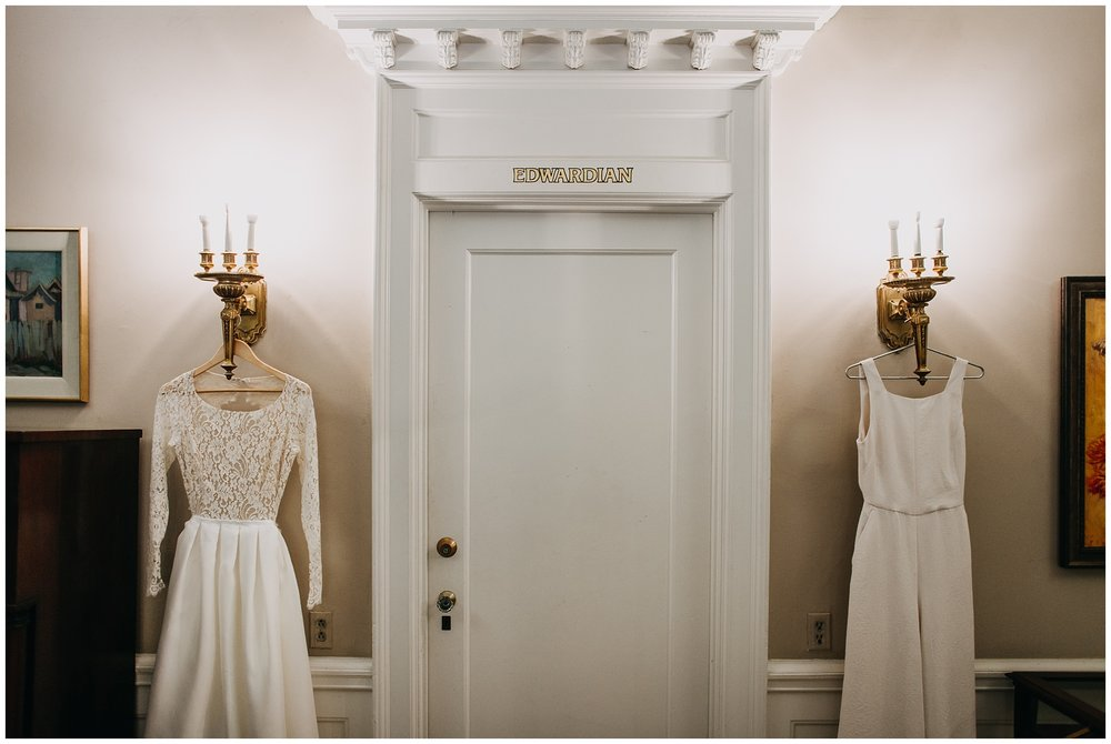 bride's wedding dress and jumpsuit at hycroft manor wedding