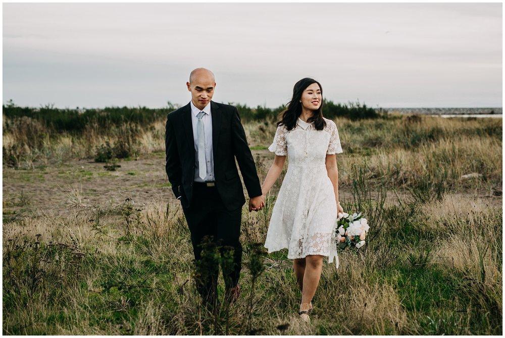 wedding couple at iona beach vancouver