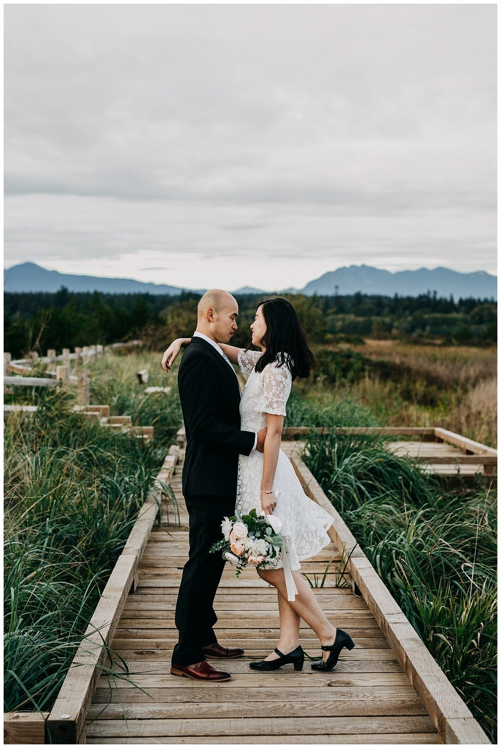wedding couple portrait at iona beach vancouver