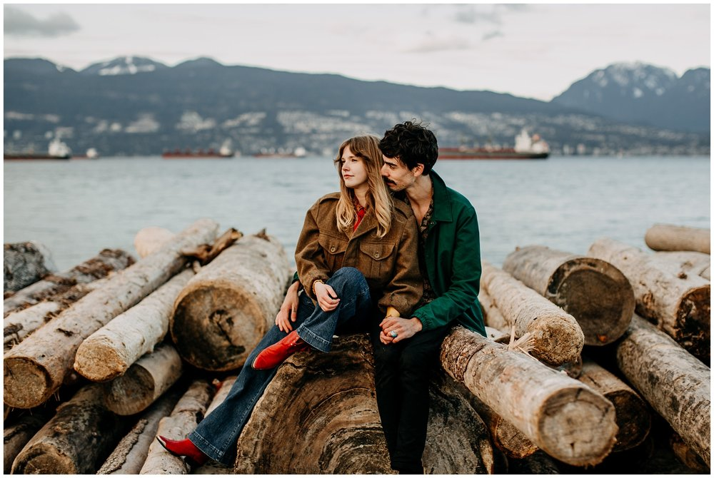 70s inspired couples outfit at jericho beach engagement session
