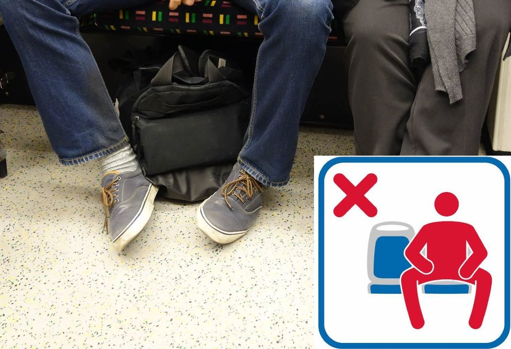 If you sit this way, you may have to pay. Transit authorities are now authorities on civility.