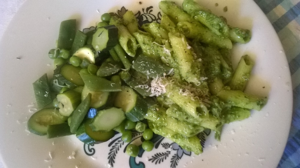 The pesto with pasta and home grown courgettes and runner beans -I love summer!
