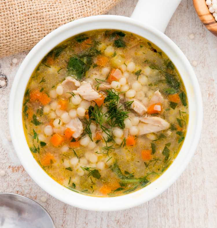 Chicken With Spinach And Couscous Soup Salad Menu