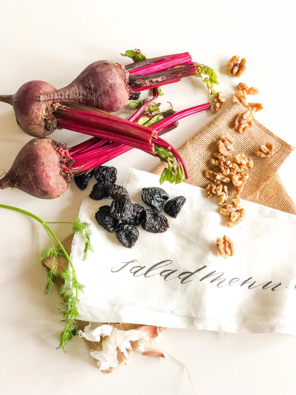 Beet prune salad with walnuts