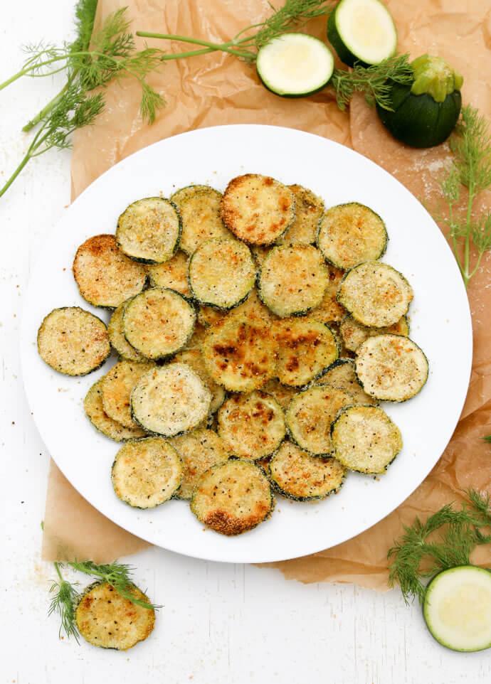A plate of  Zucchini Crisps