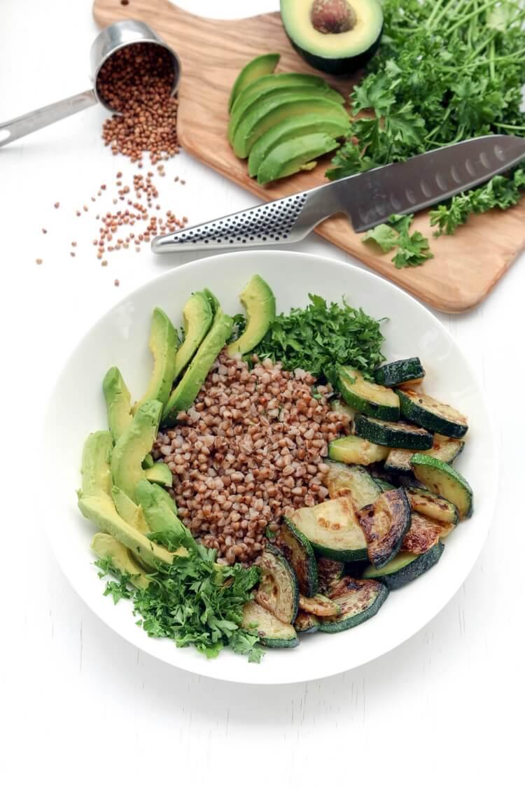 A plate buckwheat avocado and zucchini bowl