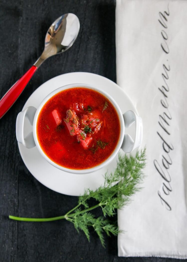 A bowl of homemade borscht