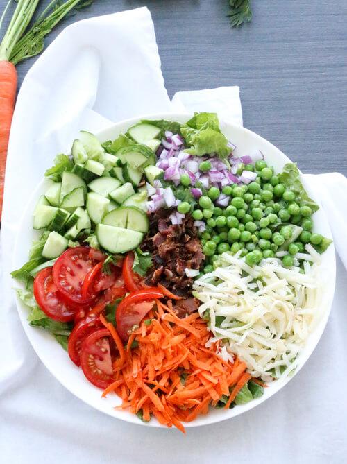 A bowl of garden mixed salad