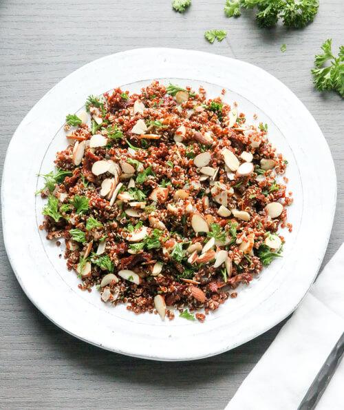 A plate of sun dried tomato and quinoa salad