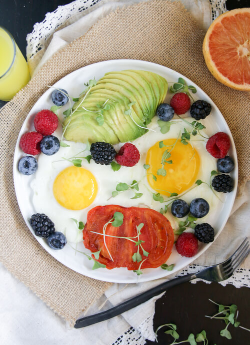 Fruit and egg breakfast plate recipe