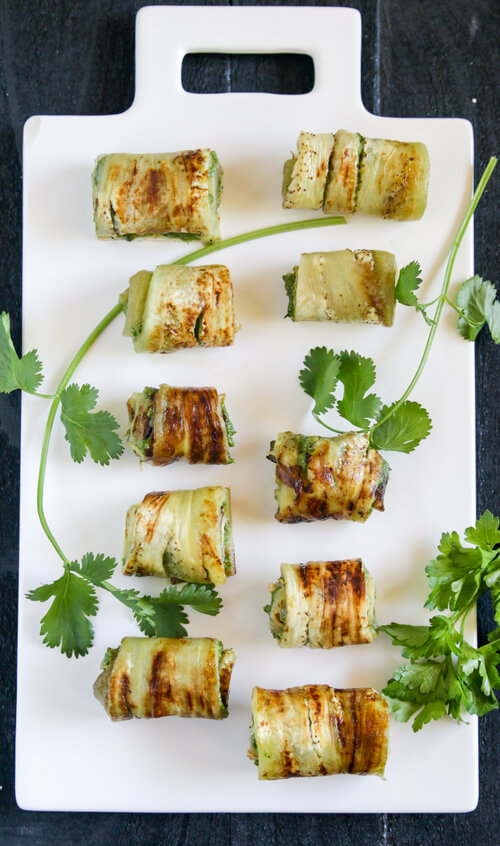 A plate of eggplant appetizers