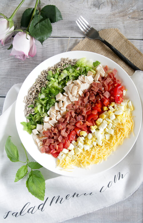 A plate of chopped salad with red wine vinaigrette