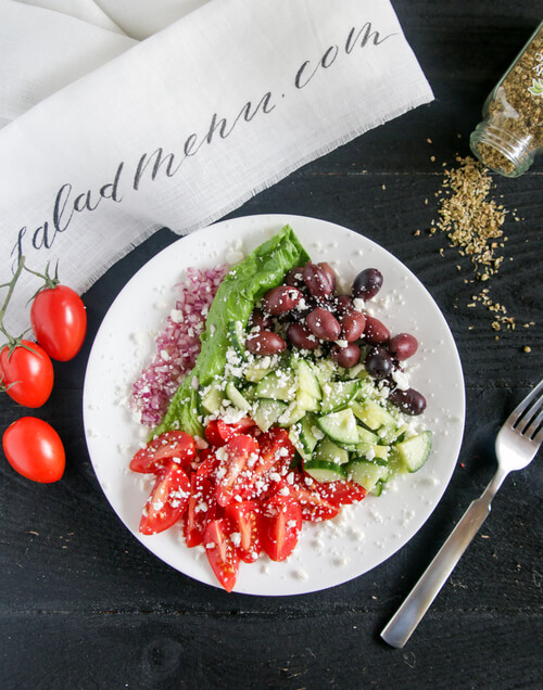 A plate of greek salad