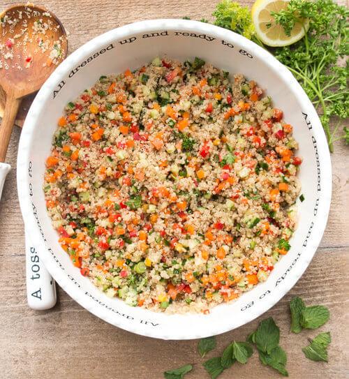 A bowl of fresh quinoa salad