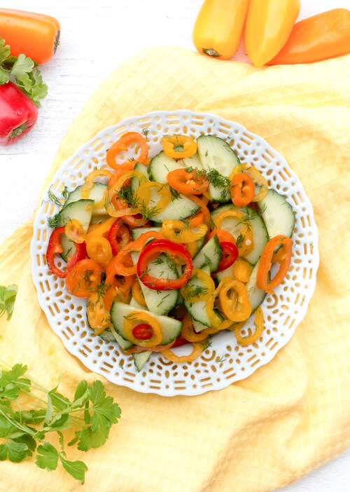 A plate of bell peppers and cucumber salad recipe