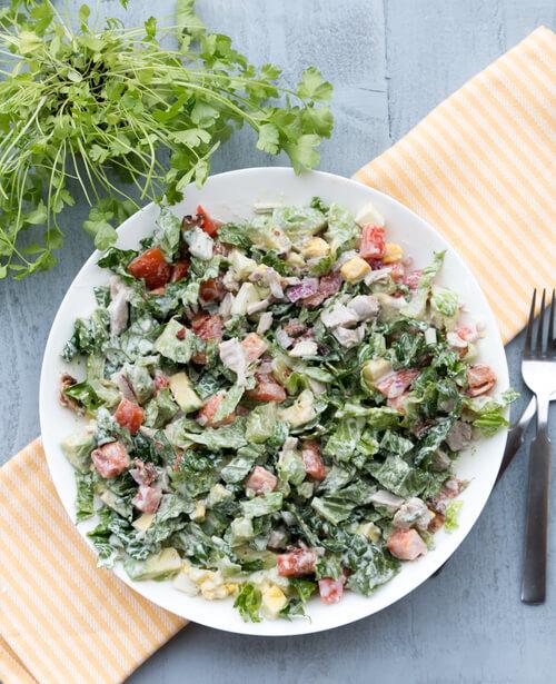 A plate of chicken cobb salad