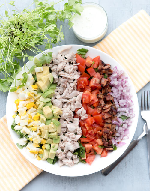 A plate of chicken Cobb salad recipe
