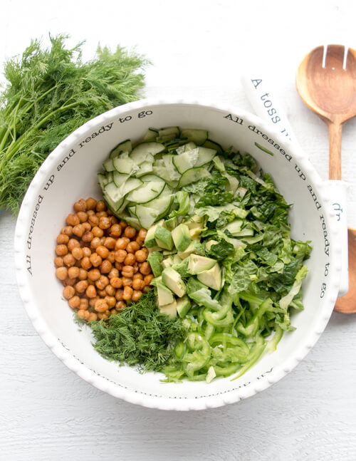 A bowl of roasted chickpeas and greens