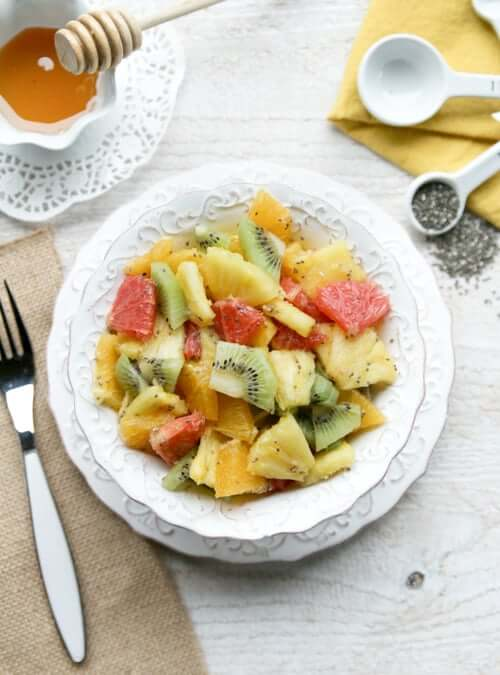 A plate of chia fruit salad
