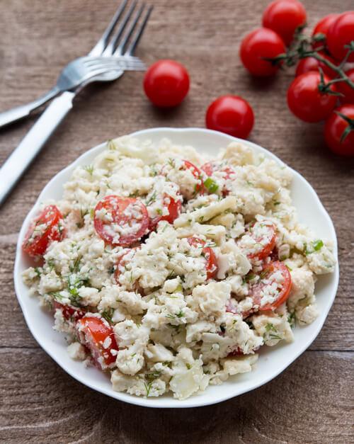A plate of cauliflower salad