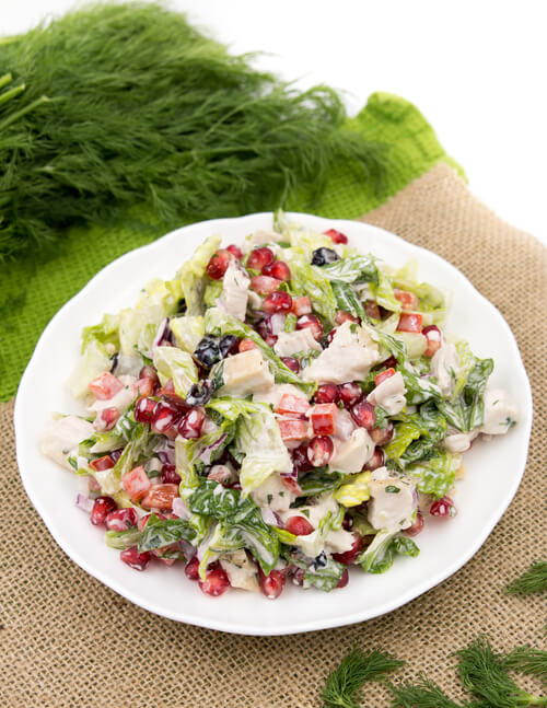 A plate of turkey salad with dairy free dressing