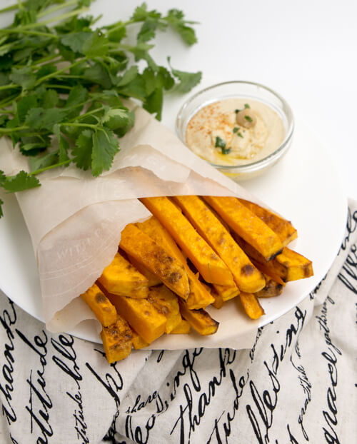 A plate of butternut squash fries
