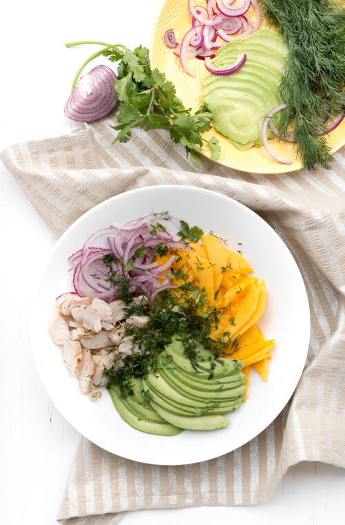 A plate of mango avocado chicken salad